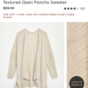 LOFT Textured Open Front Poncho Sweater